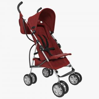Baby Stroller Red 3D