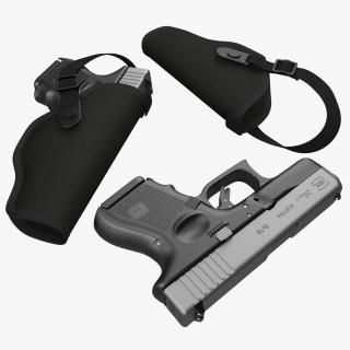 3D model Glock 26 and Holster 3D Models