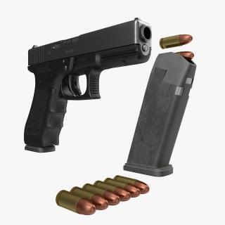 3D Glock 17 Semi Automatic Pistol Black
