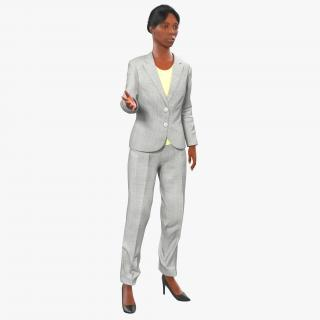 3D Business Woman African American Rigged model