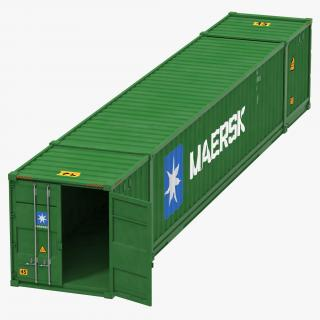 53 ft Shipping ISO Container Green 3D model