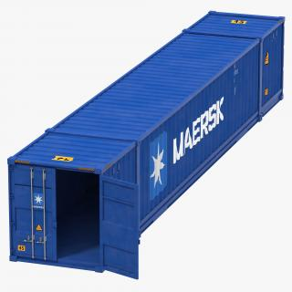 3D 53 ft Shipping ISO Container Blue model
