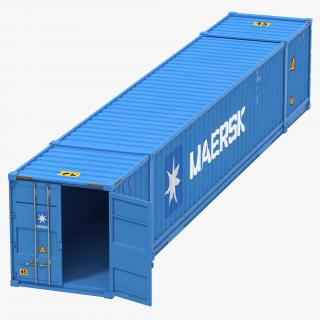 3D model 53 ft Shipping ISO Container Blue 2