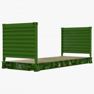 3D model Flat Rack Container Green