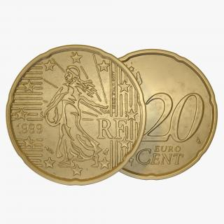 French Euro Coin 20 Cent 3D model