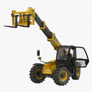 Telescopic Handler Forklift JCB 535 95 Yellow Rigged 3D