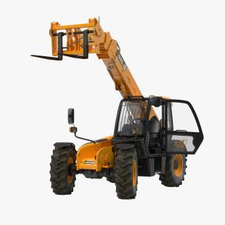 Telescopic Handler Forklift JCB 535 95 Orange Rigged 3D