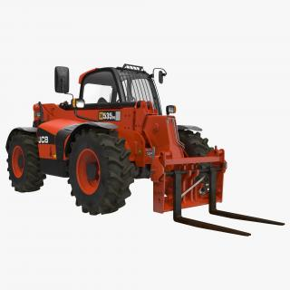 Telescopic Handler Forklift JCB 535 95 Red 3D