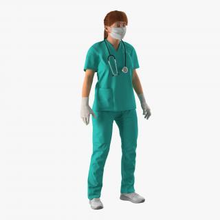 3D Female Caucasian Surgeon Rigged