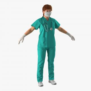 Female Caucasian Surgeon 3D model
