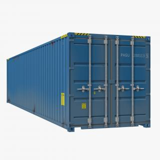 3D 40 ft ISO Container Blue 2
