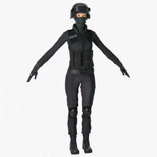 3D SWAT Woman Asian 2 model