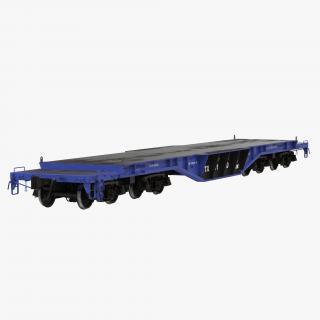Heavy Duty Flat Car Blue 3D model