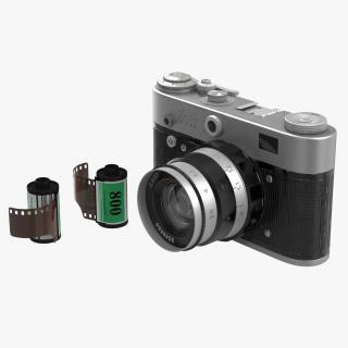 Vintage Film Camera Fed 3 3D Models Set 3D model
