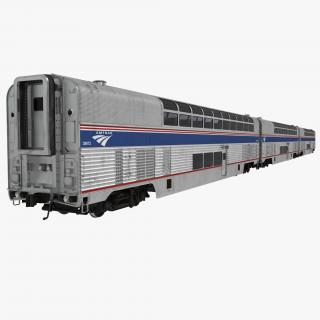 Passenger Double Deck Train Amtrak 3D model