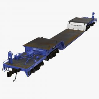 3D Heavy Duty Depressed Centre Flat Car Blue