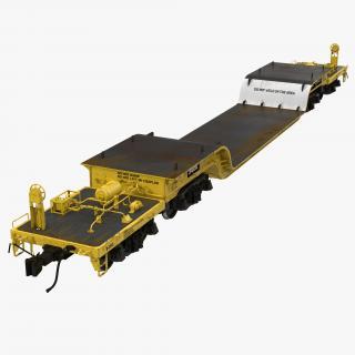 3D Heavy Duty Depressed Centre Flat Car Yellow model