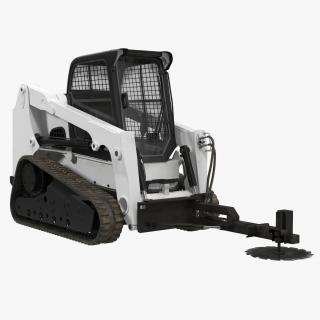 Compact Tracked Loader With Brush Saw Rigged 3D model