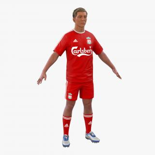 3D Soccer Player Liverpool with Hair model