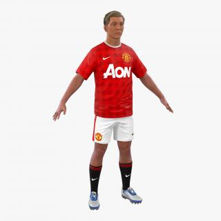 3D Soccer Player Manchester United with Hair
