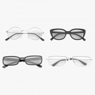 3D model Folded Glasses Collection