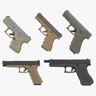 Glock Pistols 3D Models Collection 3D model