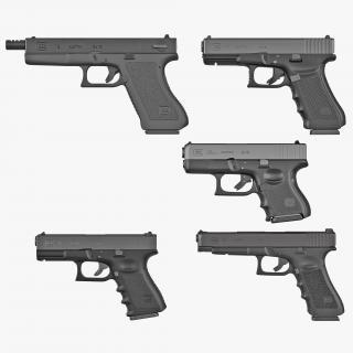 3D Glock Pistols 3D Models Collection 2