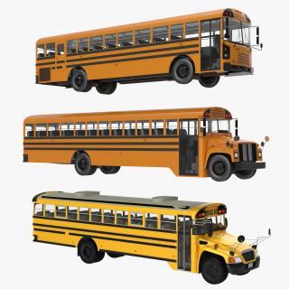 3D School Buses 3D Models Collection model