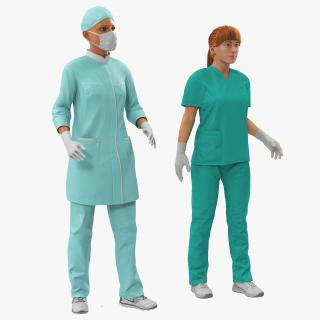 Female Rigged Doctors 3D Models Collection 3D