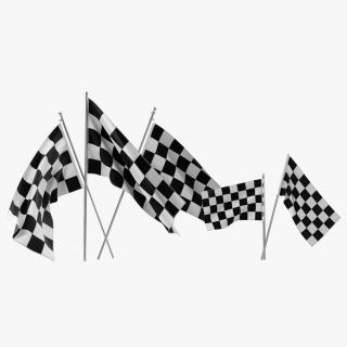 3D Racing Flags 3D Models Collection model