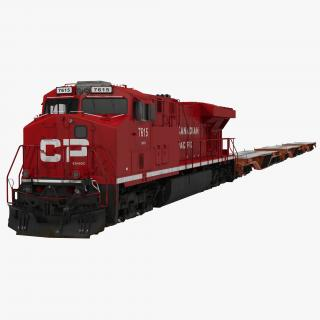Train ES40DC Canadian Pacific and Flat Car 3D