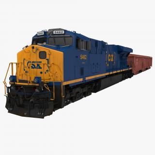 Train ES40DC CSX Blue and Covered Hopper Car 3D model