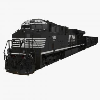 Train ES40DC Norfolk Southern and Hopper Car 3D model