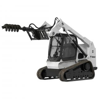 Compact Tracked Loader Bobcat with Auger Rigged 3D
