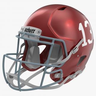 3D Football Helmet 3 Schutt Red model