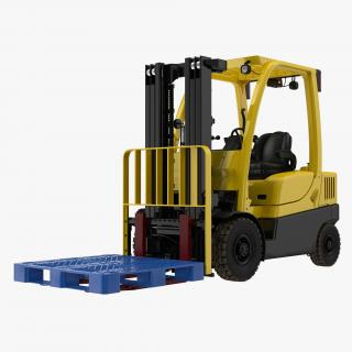 3D Forklift with Plastic Pallet model