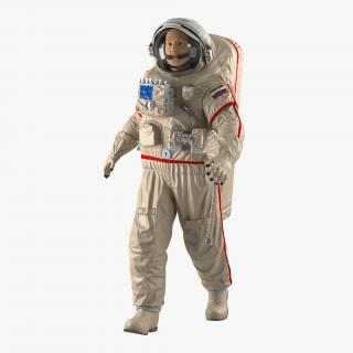 Russian Astronaut Wearing Space Suit Orlan MK Rigged 3D