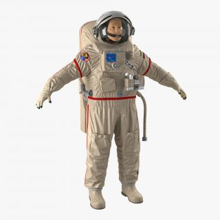 3D model Russian Astronaut Wearing Space Suit Orlan MK