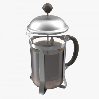 French Press Coffee Pot 2 with Coffee 3D