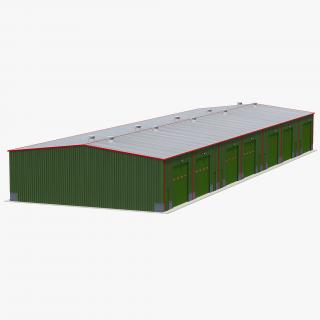 Warehouse Building Green 3D model