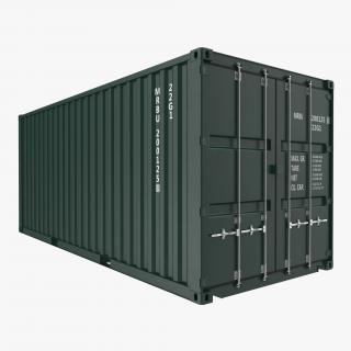 3D model 20 ft ISO Container Green