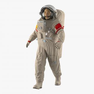 3D Chinese Astronaut Wearing Space Suit Feitian Rigged