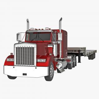 3D Truck and Single Drop Tri Axle Trailer model