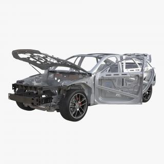3D Car Frame with Chassis 3 Rigged
