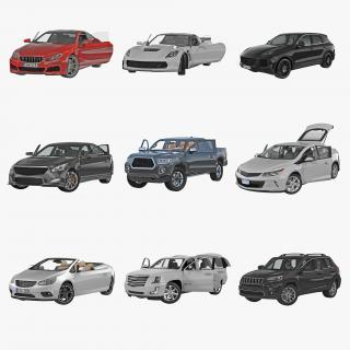 3D model Generic Rigged Cars Collection