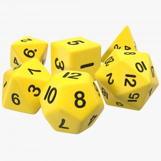 3D Polyhedral Dice Set Yellow