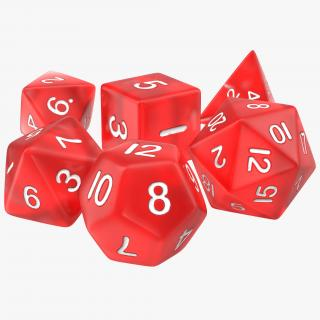3D Polyhedral Dice Set Red model