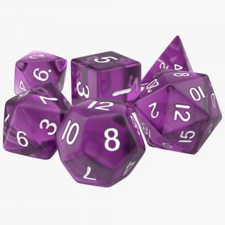 3D Polyhedral Dice Set Violet