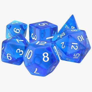 Polyhedral Dice Set Blue 3D model