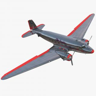 Douglas DC-3 American Airlines Rigged 3D